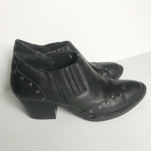 Born black leather booties size 7m